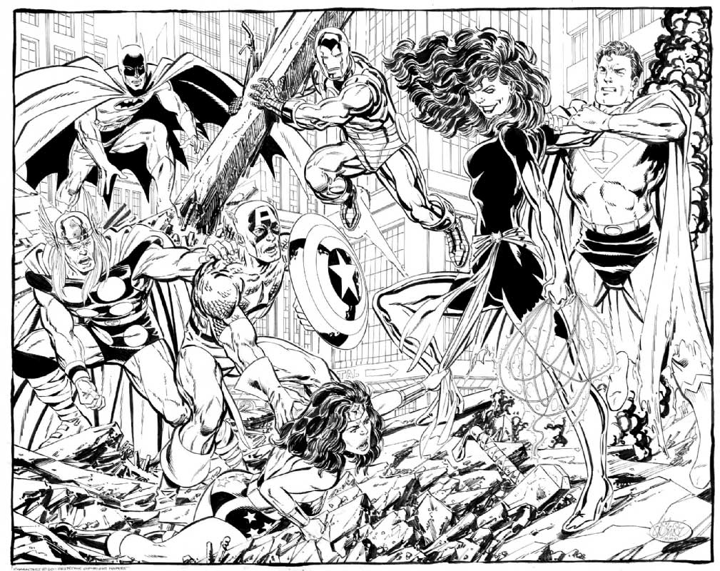 John Byrne Commission - Superman Phoenix Batman Wonder Woman Iron Man Thor Captain America Iron Man