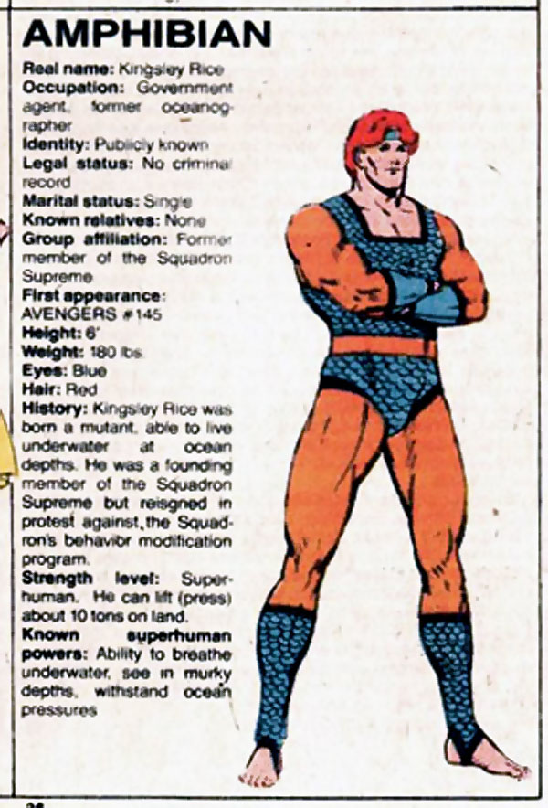 Amphibian (Squadron Supreme's Aquaman) from the Official Handbook of the Marvel Universe