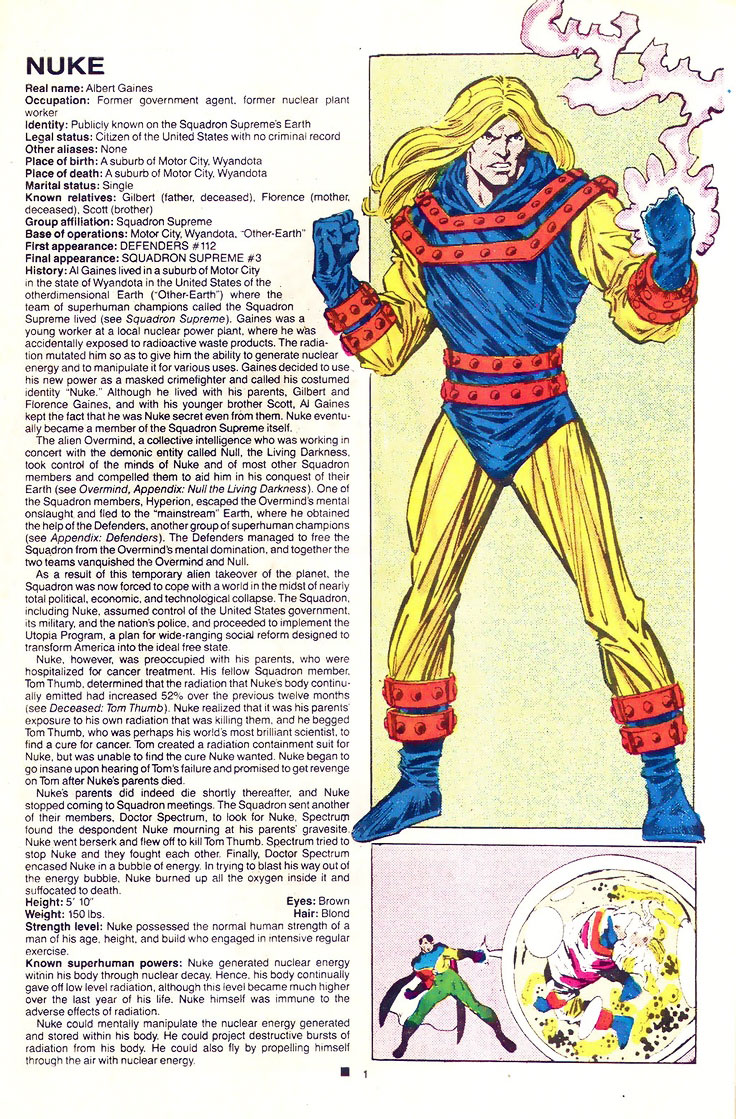 Nuke (Squadron Supreme's Firestorm) from the Official Handbook of the Marvel Universe