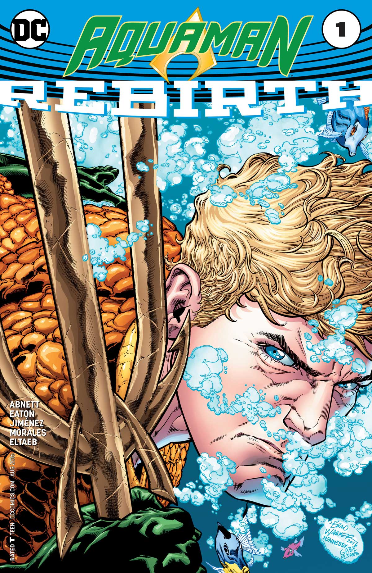 Aquaman Rebirth cover by Brad Walker