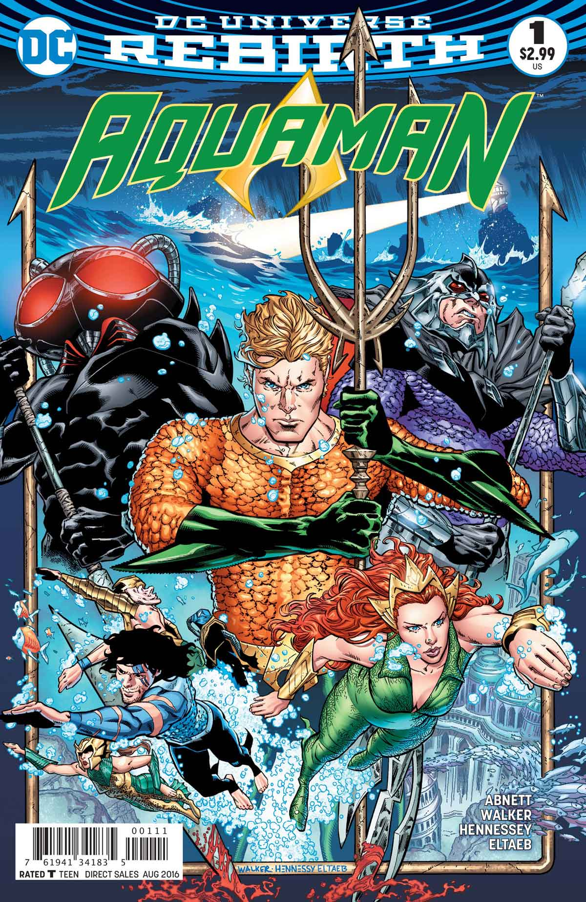 Aquaman #1 by Dan Abnett, Brad Walker, Andrew Hennessey, Gabe Eltaeb, and more