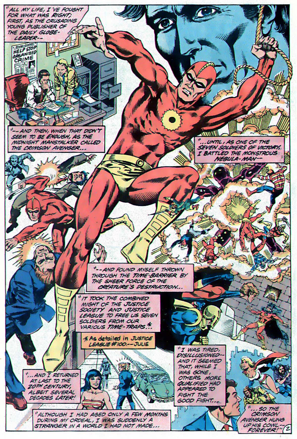 Whatever Happened to... Crimson Avenger! From DC Comics Presents #38, by Lein Wein, Alex Saviuk, and Dennis Jensen.