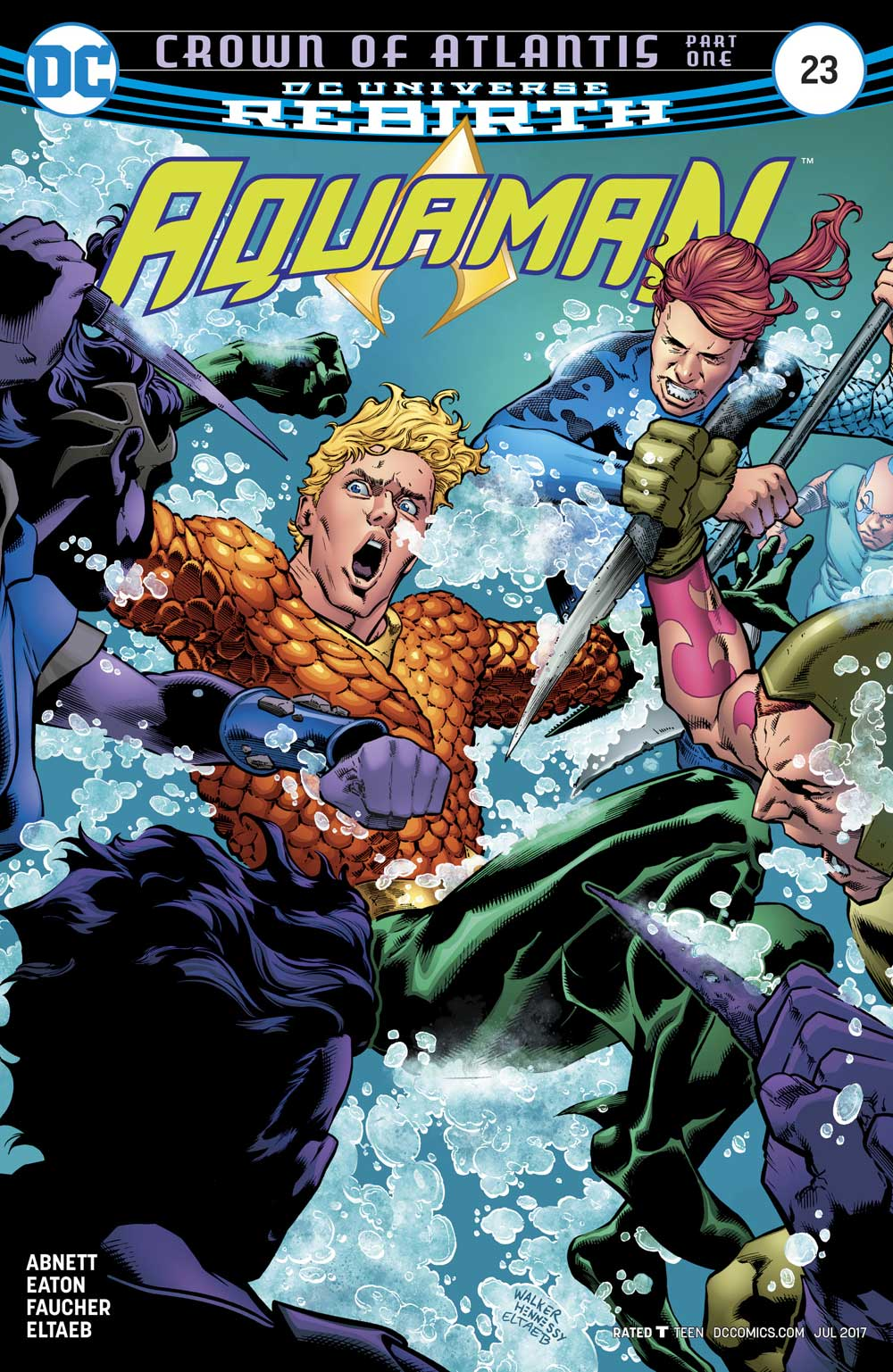 Aquaman #23 cover by Brad Walker, Andrew Hennessy and Eltaeb