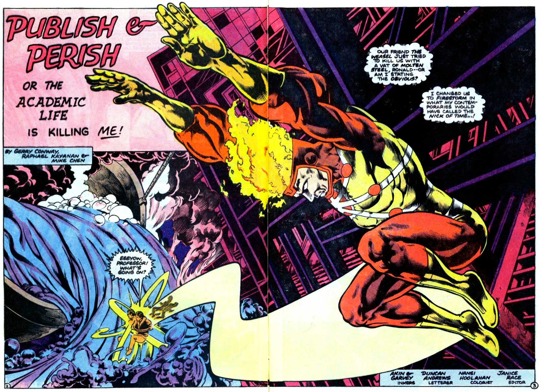 Fury of Firestorm #39 by Gerry Conway, Rafael Kayanan, Mike Chen, Akin & Garvey