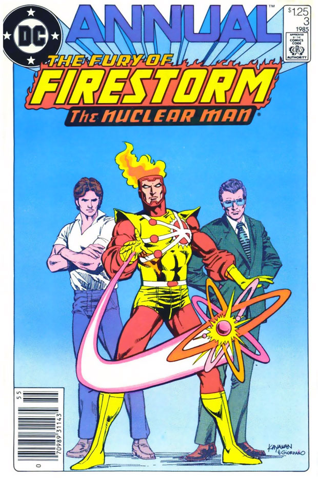 Fury of Firestorm Annual #3 (1985) cover by Rafael Kayanan and Dick Giordano