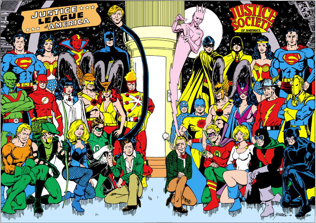 Justice League of America #195 JLA and JSA pin-up by George Perez