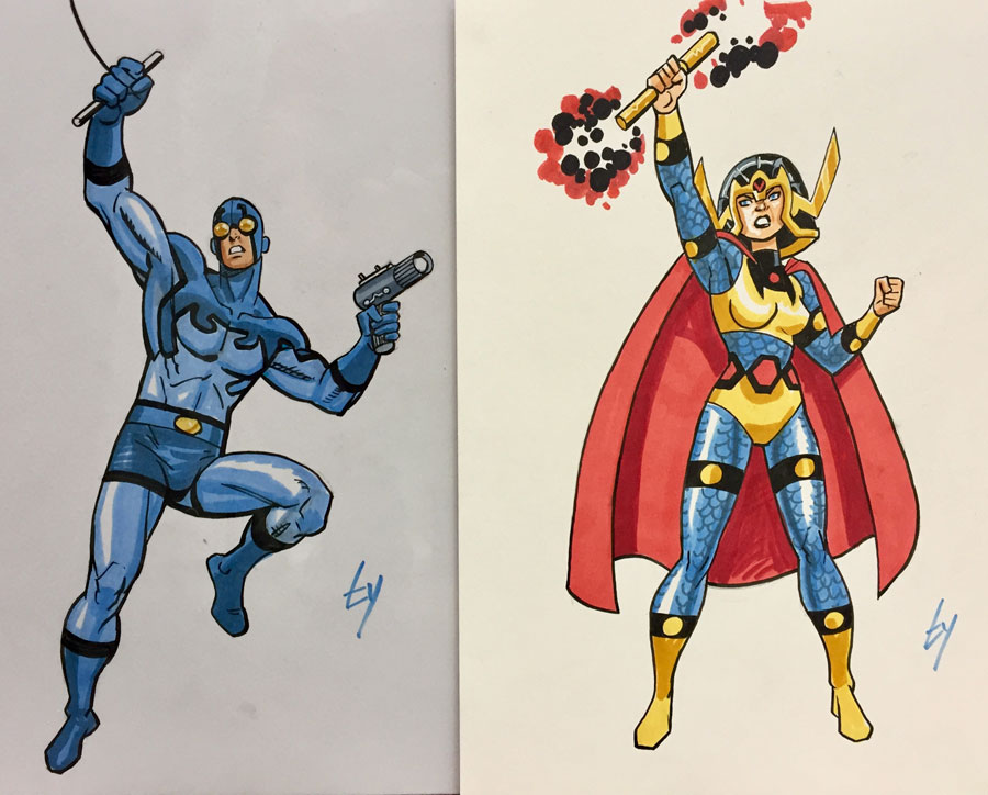 Blue Beetle and Big Barda by Ty Templeton (for Tim and Shag)