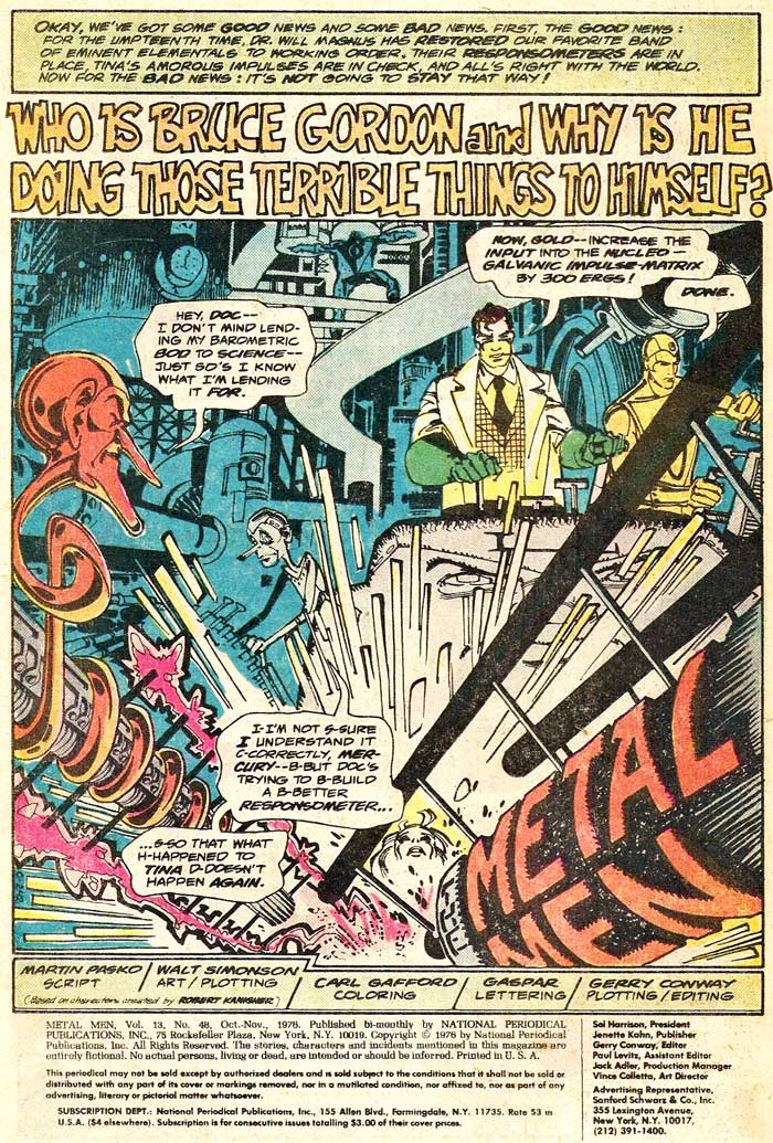 METAL MEN #48 by Martin Pasko, Gerry Conway, and Walt Simonson