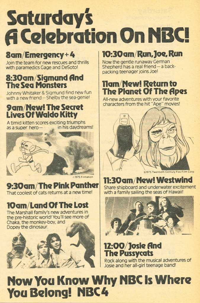 Saturday Morning Fever Podcast - ad 1975 NBC cartoons