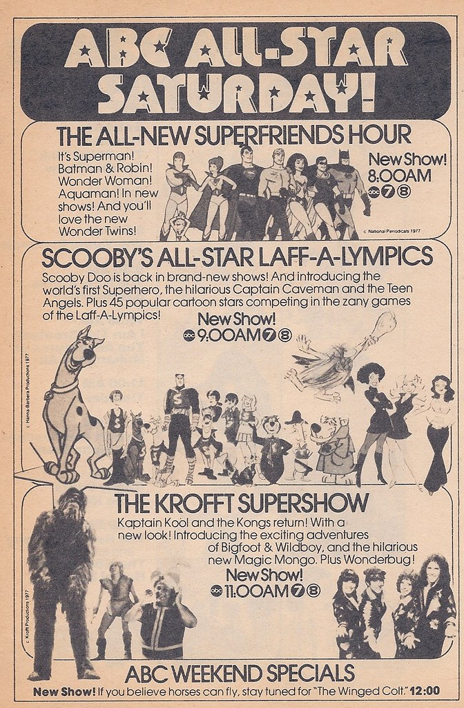 Saturday Morning Fever Podcast -ad 1977 ABC cartoons