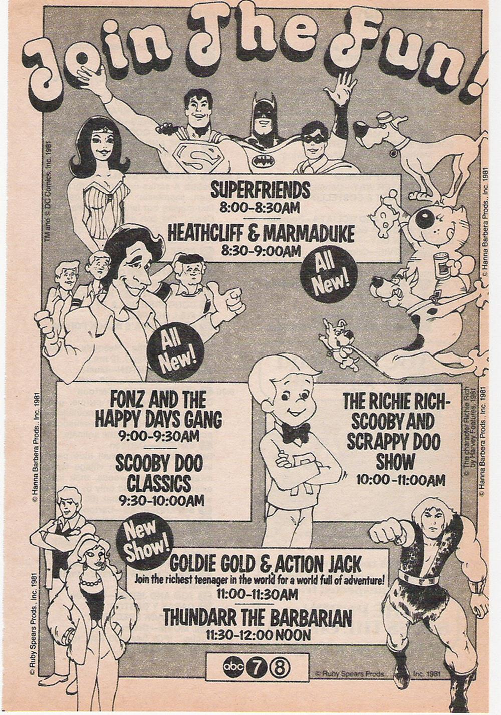 Saturday Morning Fever Podcast - ad 1981 ABC cartoons