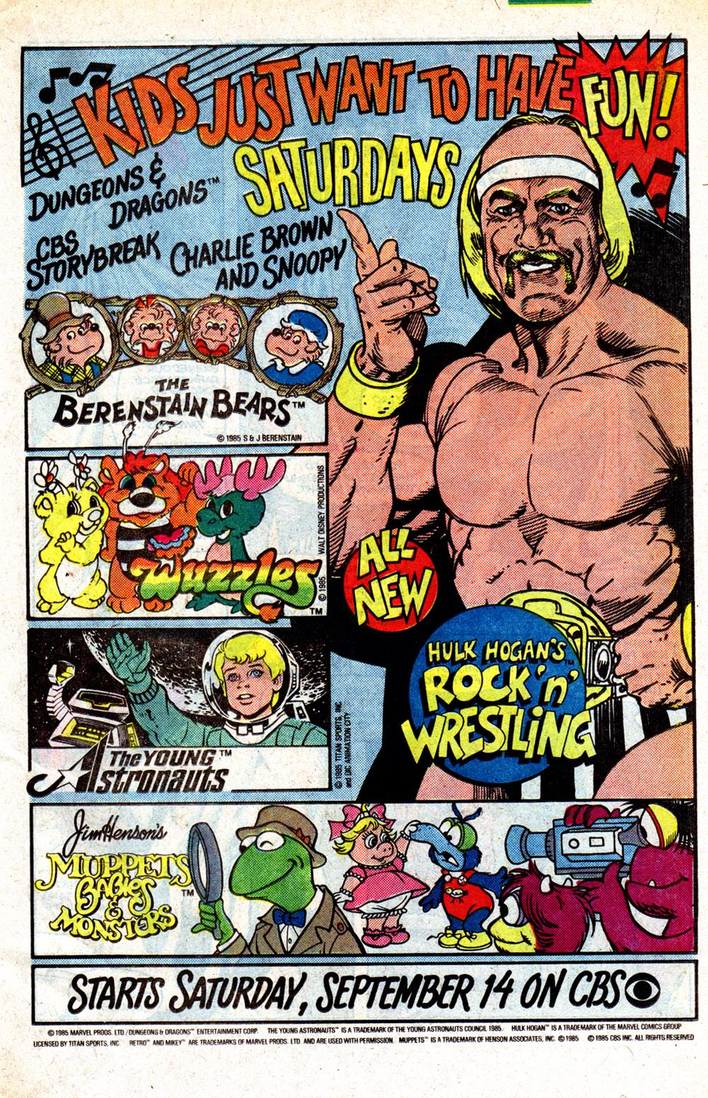 Saturday Morning Fever Podcast - comic book ad 1985 CBS cartoons