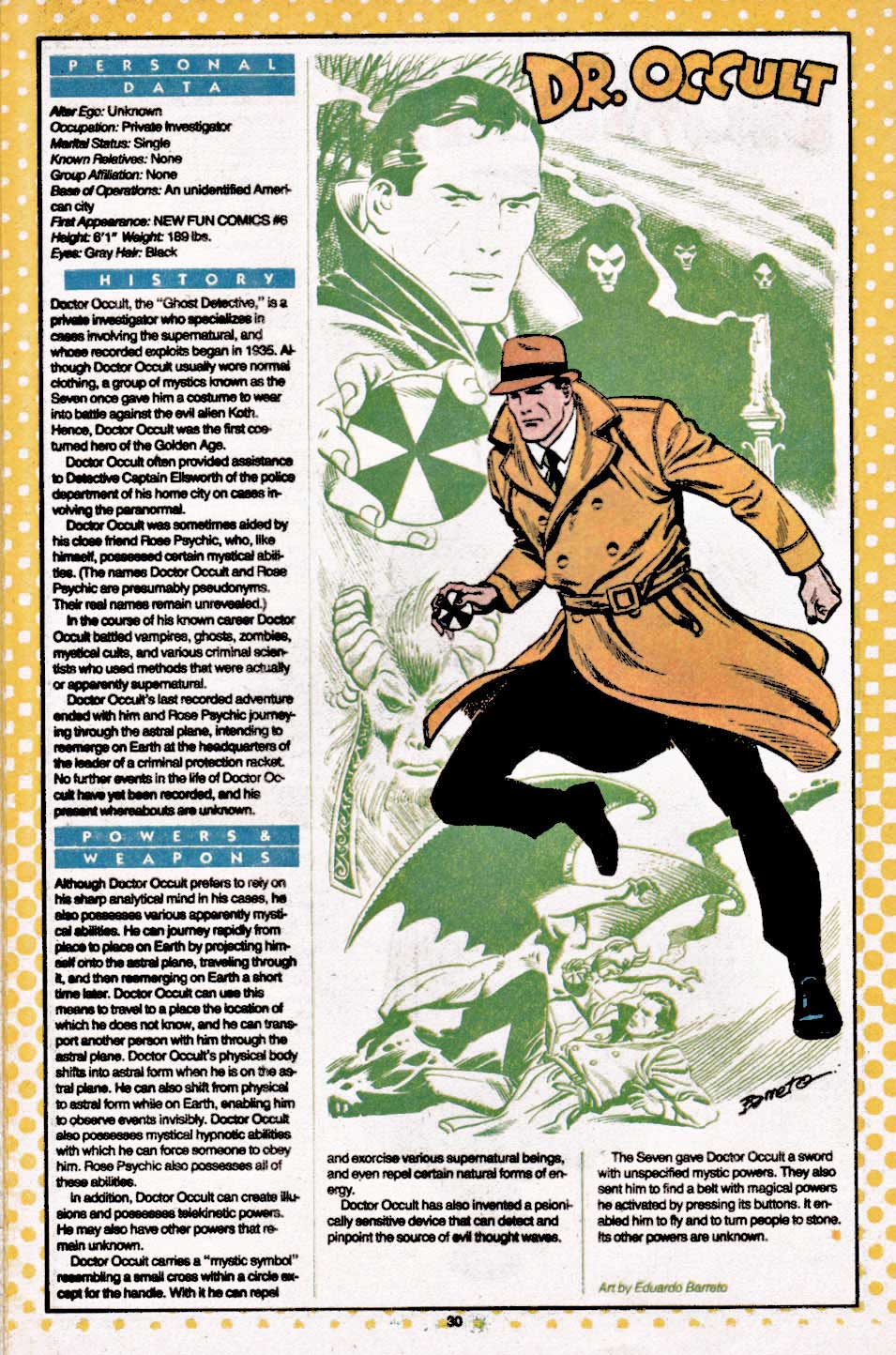 Dr Occult - Who's Who: The Definitive Directory of the DC Universe #6 (August 1985) by Eduardo Barreto