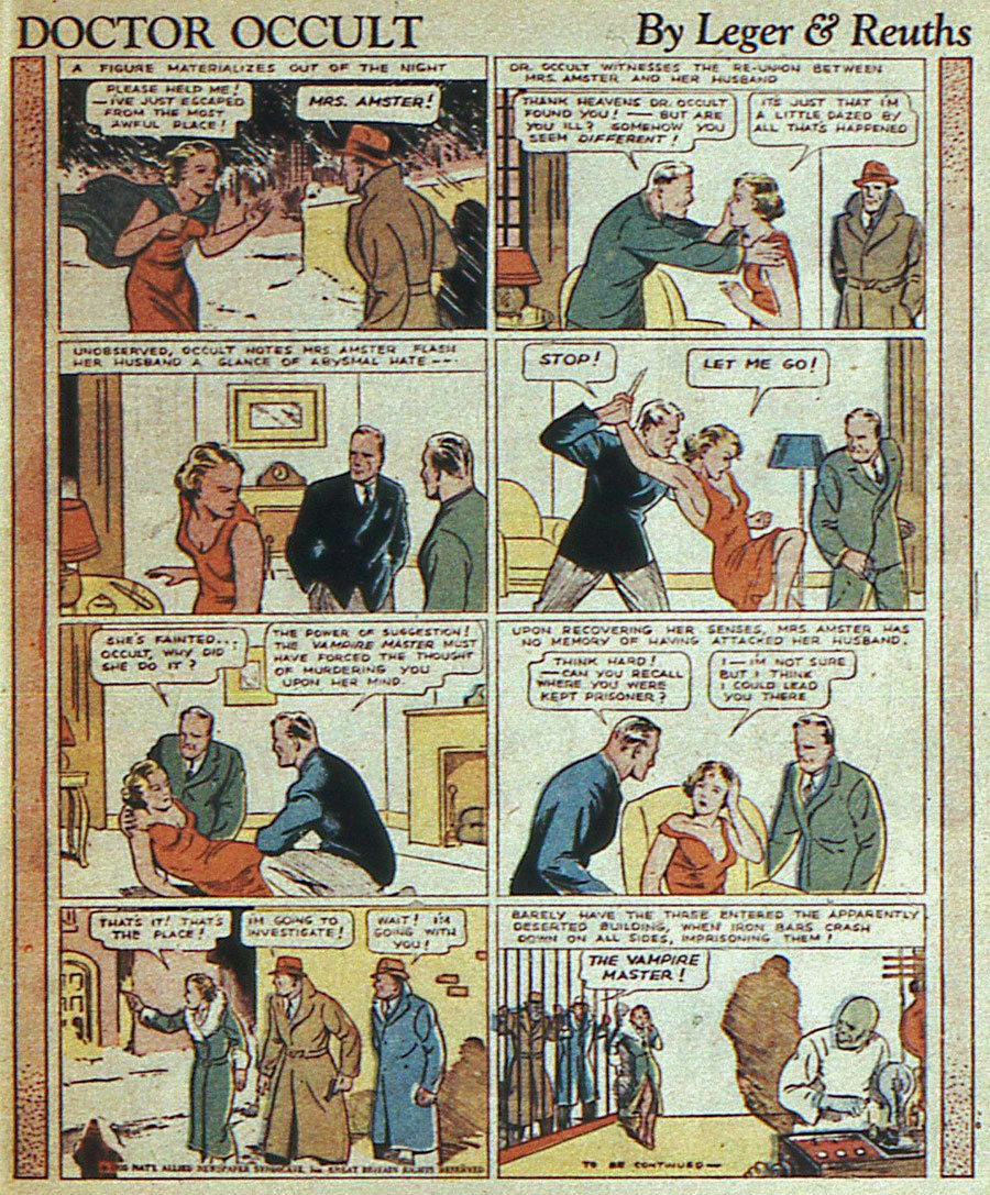 Dr Occult - More Fun Comics #8 (February 1936) by Leger and Reuths (a.k.a. Jerry Siegel and Joe Shuster)