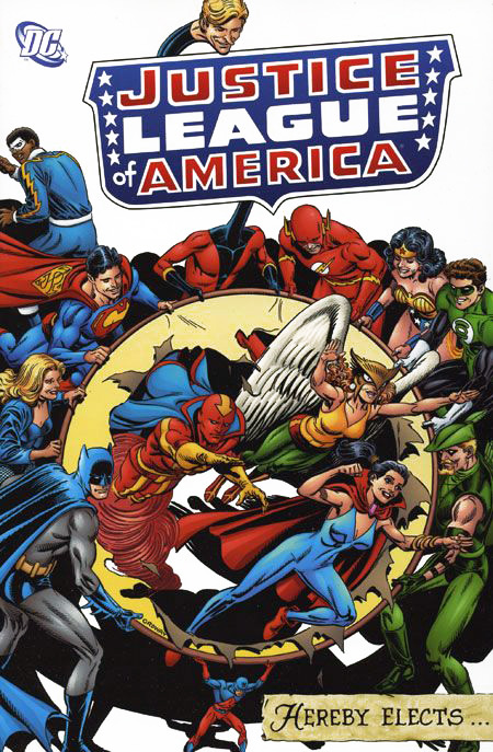 Justice League of America Hereby Elects trade paperback cover by Jerry Ordway