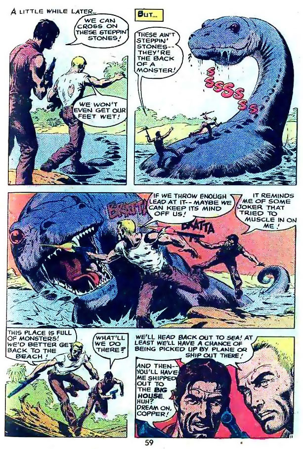 "The War that Time Forgot in ""The Big House of Monsters"" by Bob Kanigher and Russ Heath"