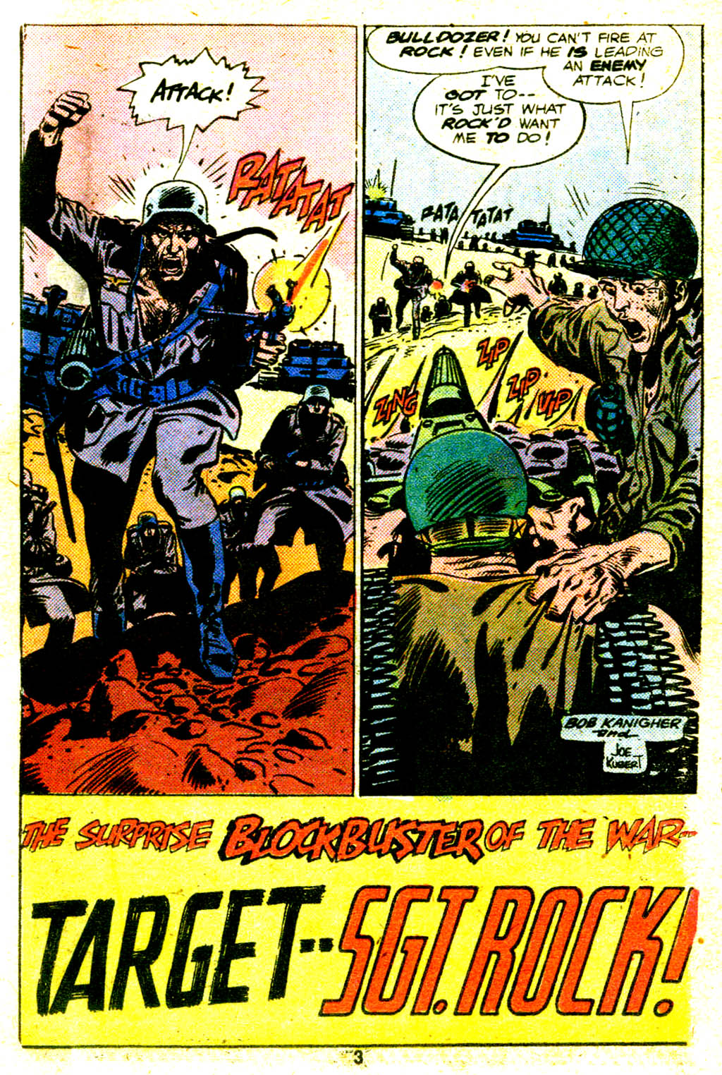 "Sgt. Rock in ""Target -- Sgt. Rock"" by Robert Kanigher and Joe Kubert"