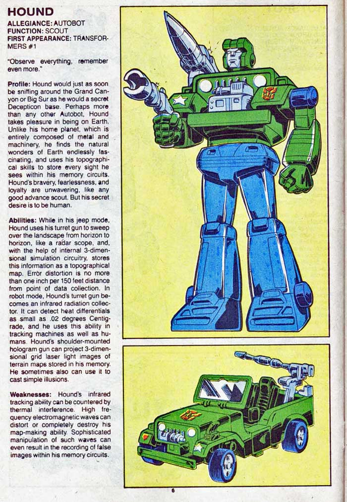 Transformers Universe entry for Hound
