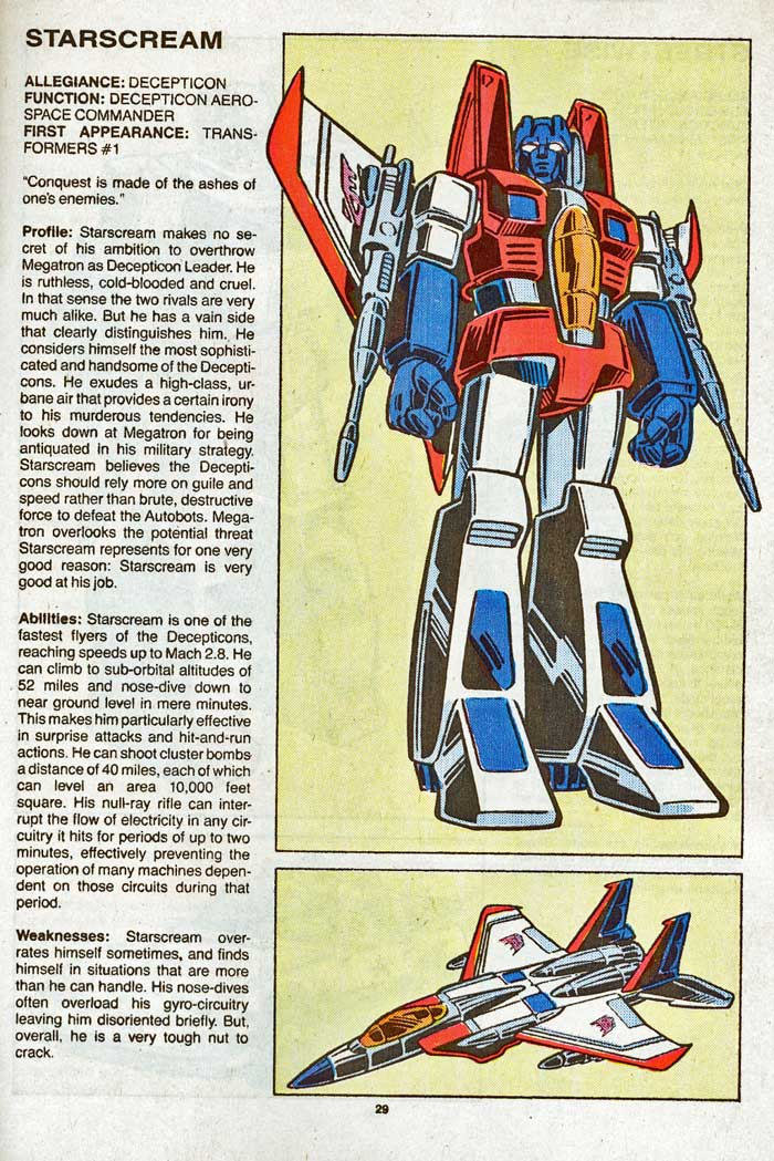 Transformers Universe entry for Starscream
