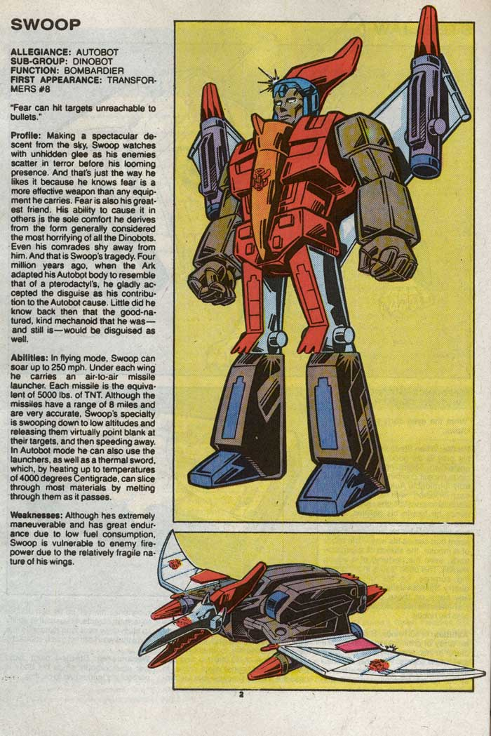 Transformers Universe entry for Swoop