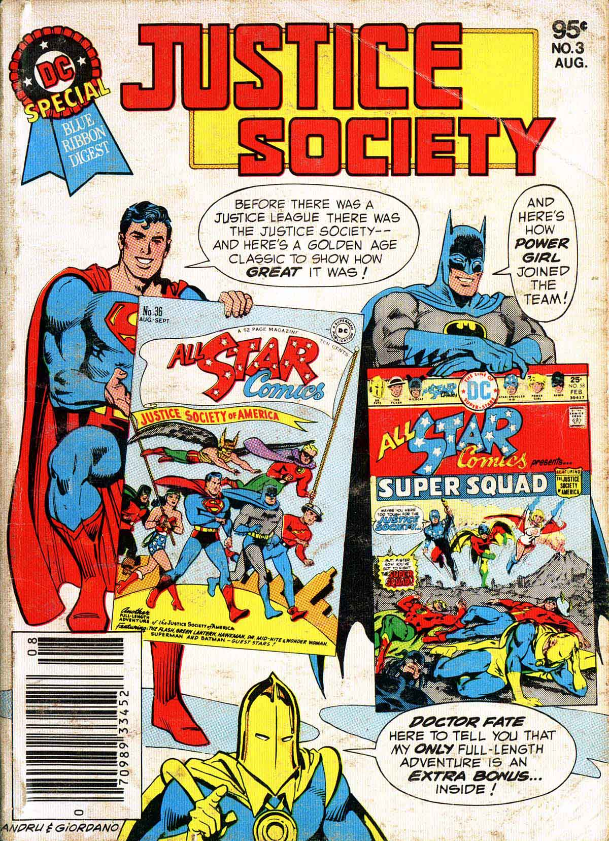 DC SPECIAL BLUE RIBBON DIGEST #3 - JUSTICE SOCIETY cover by Ross Andru and Dick Giordano