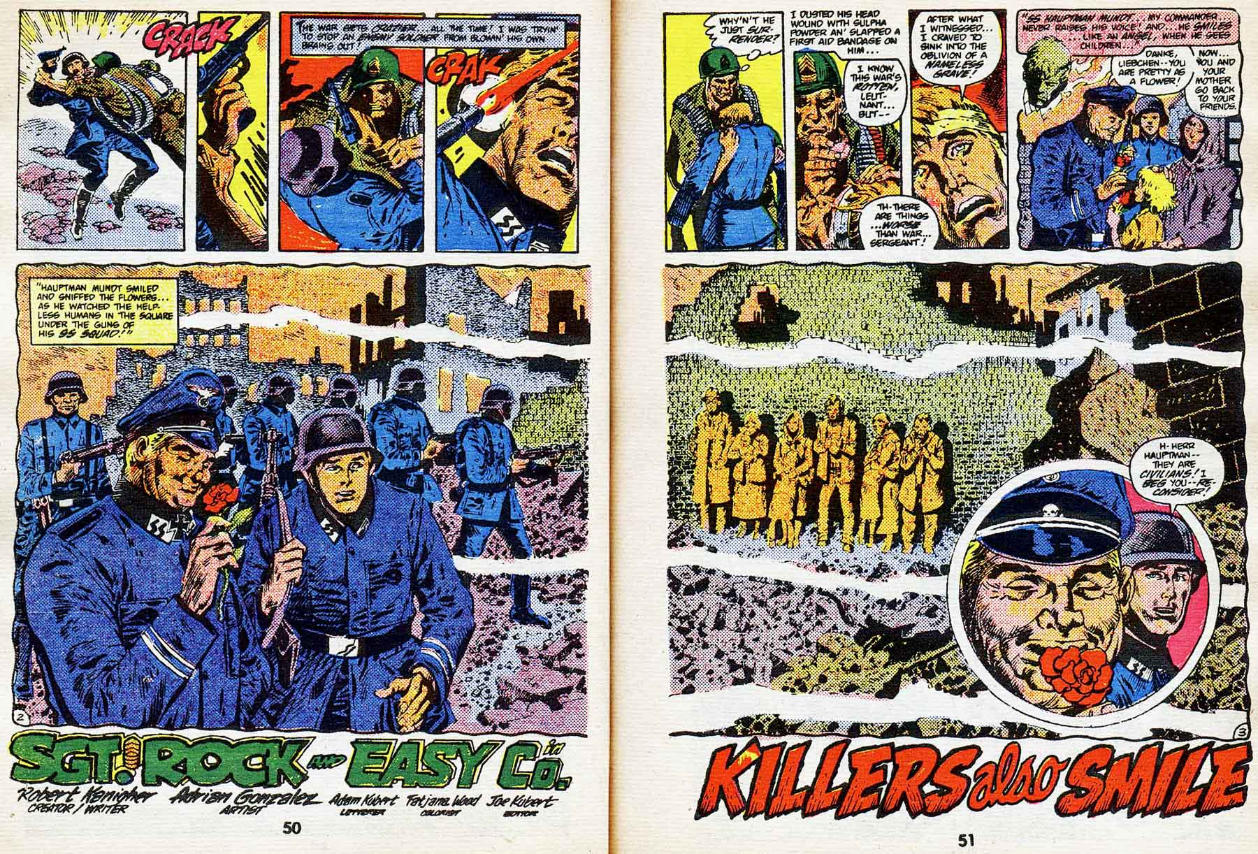 "Best of DC Blue Ribbon Digest #61: Year's Best Comic Stories 1984 - Sgt. Rock: ""Killers Also Smile"" by Robert Kanigher and Adrian Gonzales"