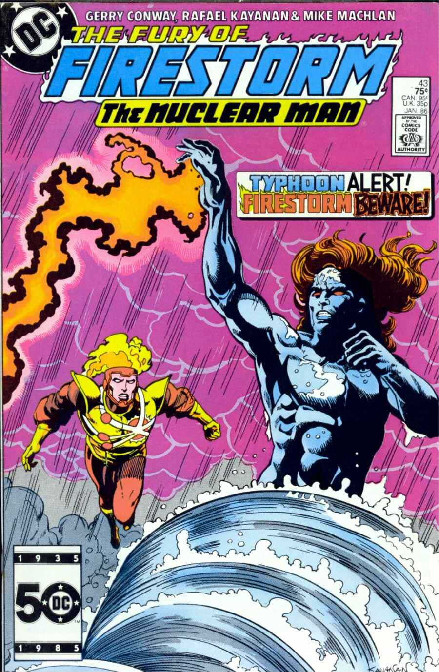 Fury of Firestorm #43 by Gerry Conway, Rafael Kayanan, Mike Machlan; cover by Rafael Kayanan & Dick Giordano