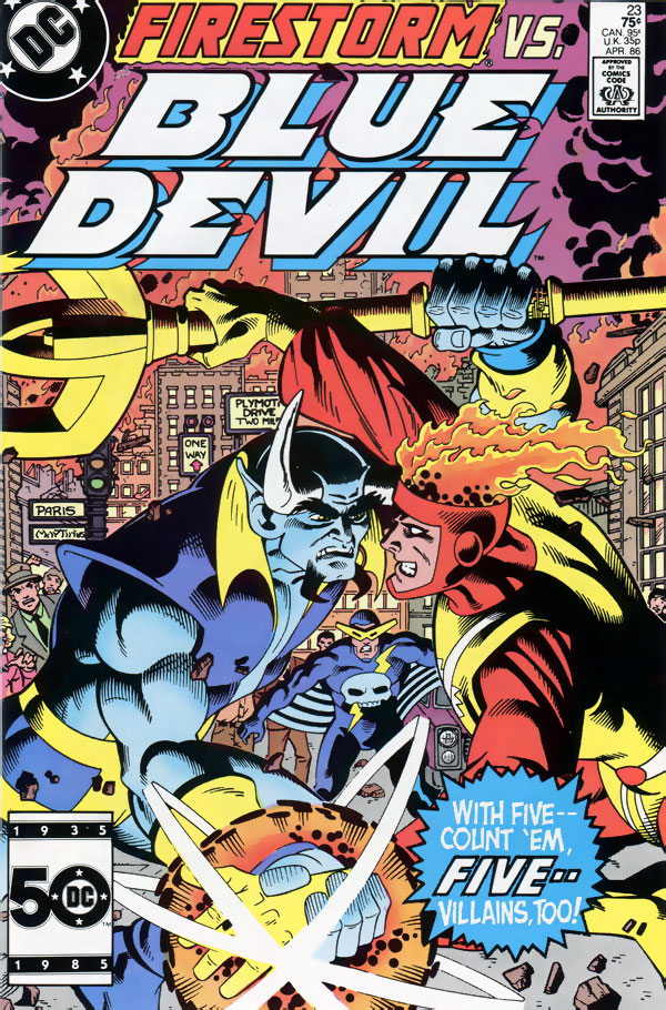 Blue Devil #23 by Gary Cohn & Dan Mishkin, Alan Kupperberg, Bill Collins; cover by Paris Cullins & Gary Martin