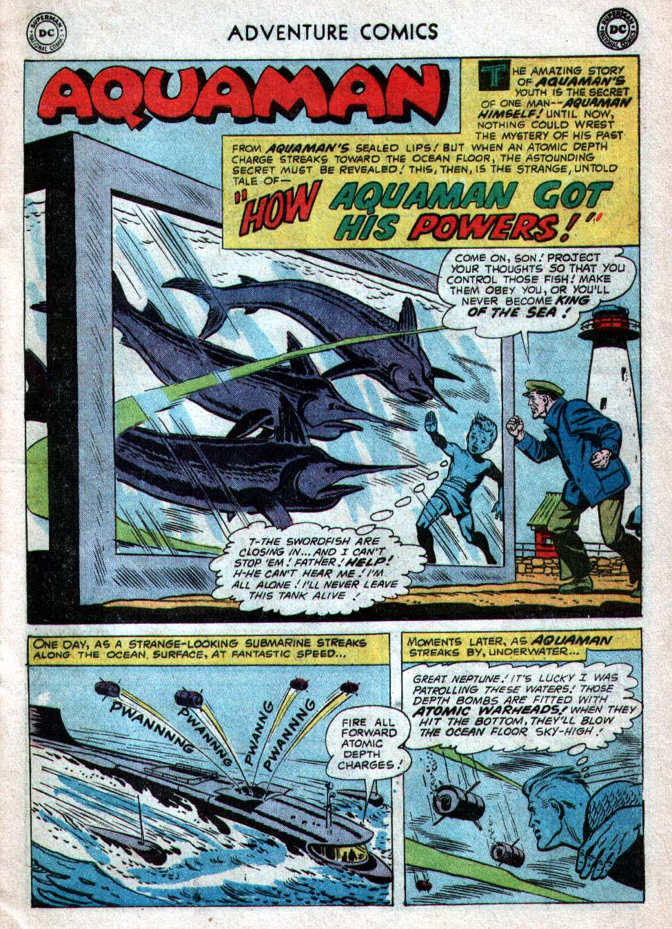 "ADVENTURE COMICS #260 - ""How Aquaman Got His Powers"", by Robert Bernstein and Ramona Fradon"