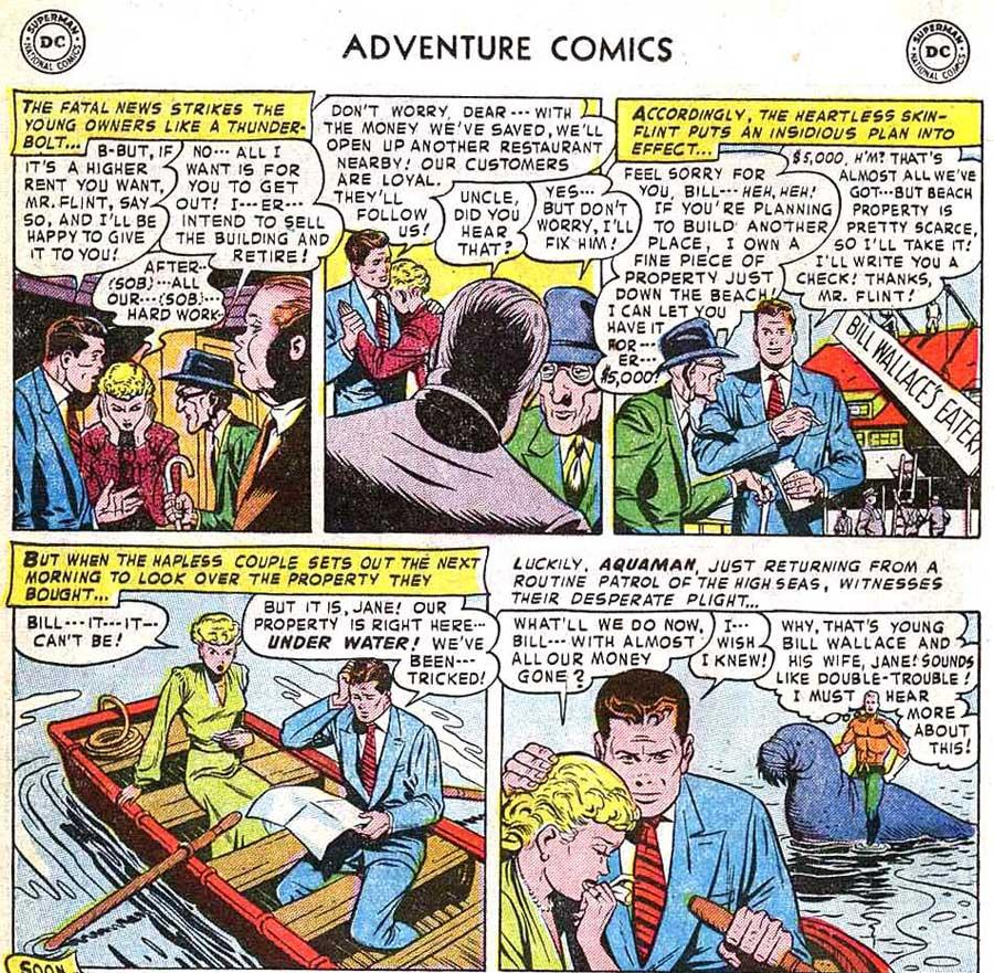"Adventure Comics #182 -- Aquaman in ""The Ocean Restaurant!"" drawn by Ramona Fradon"