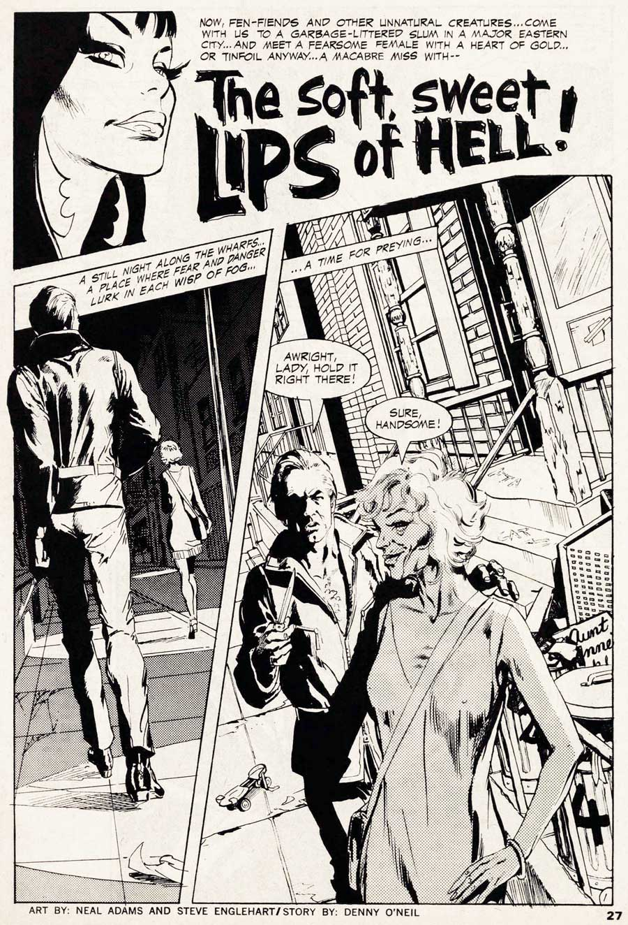 """The Soft, Sweet Lips of Hell"" from VAMPIRELLA #10 by Denny O'Neil and Neal Adams"
