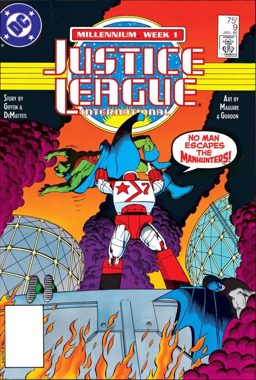 Justice League International #9 cover by Kevin Maguire and Al Gordon