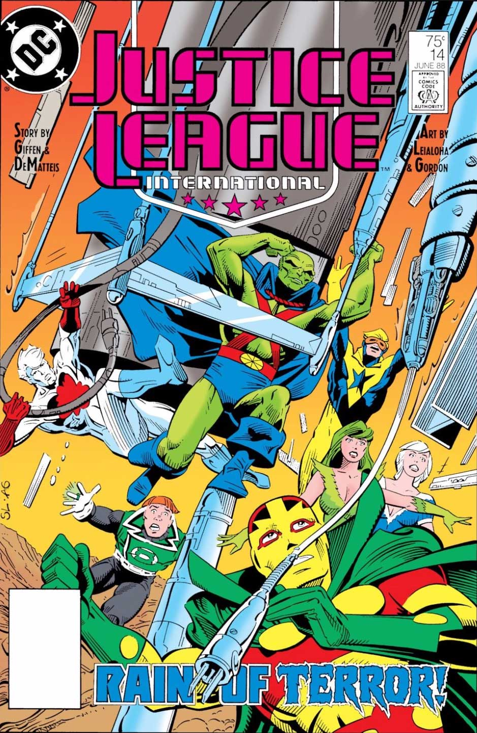 Justice League International #14 cover by Steve Leialoha and Al Gordon