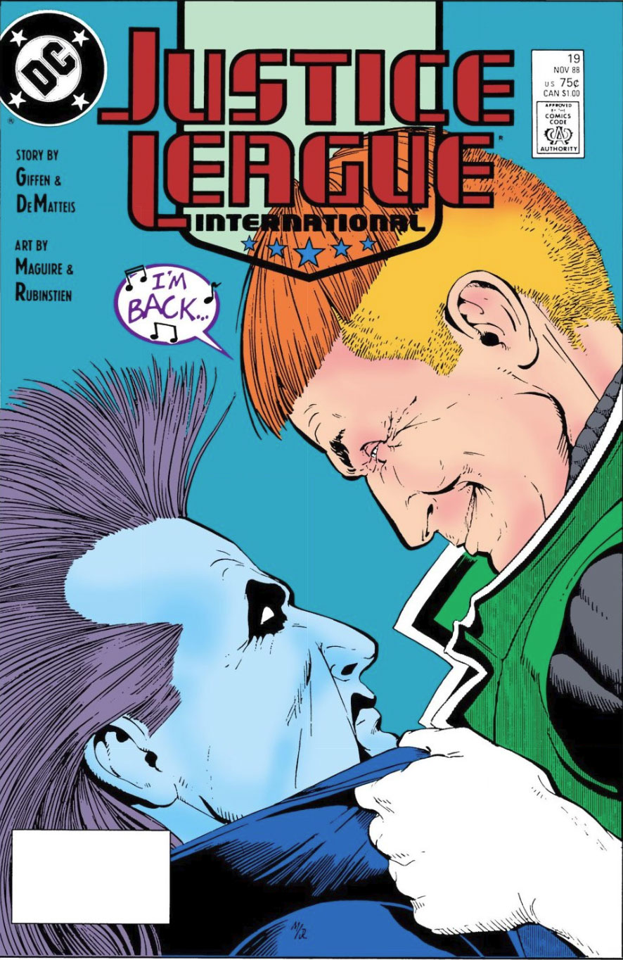 Justice League International #19 cover by Kevin Maguire and Joe Rubinstein