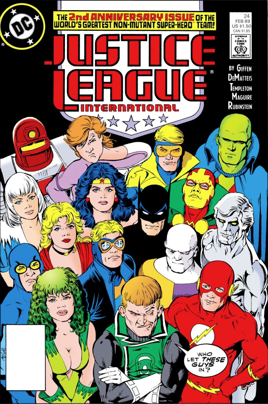 Justice League International #24 cover by Kevin Maguire and Joe Rubinstein