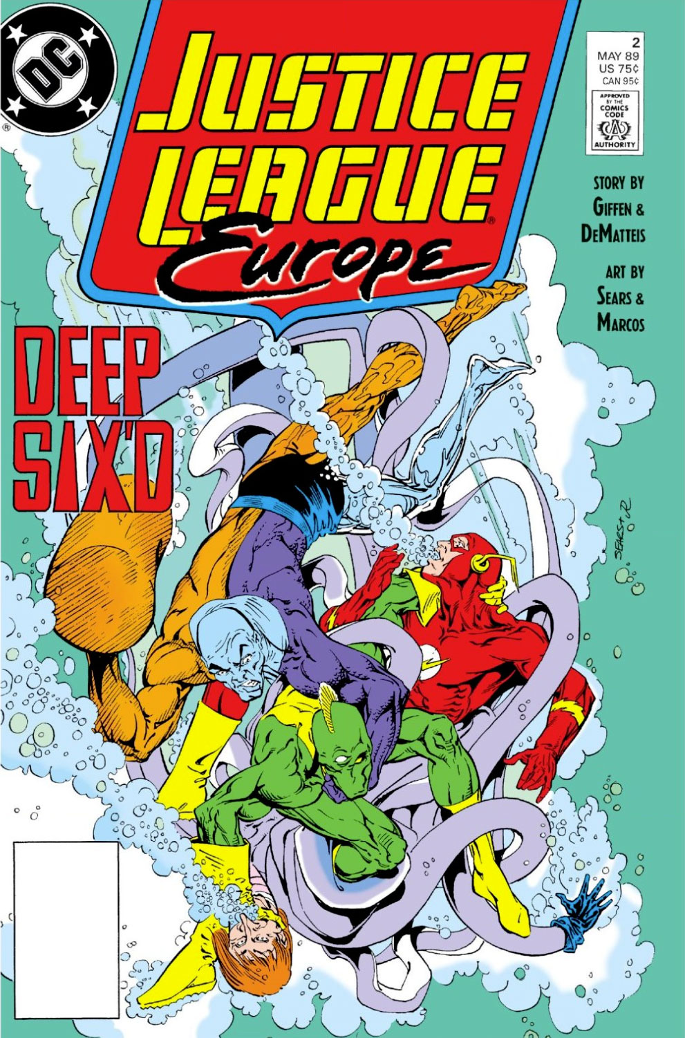 Justice League Europe #2 cover by Bart Sears and Joe Rubinstein