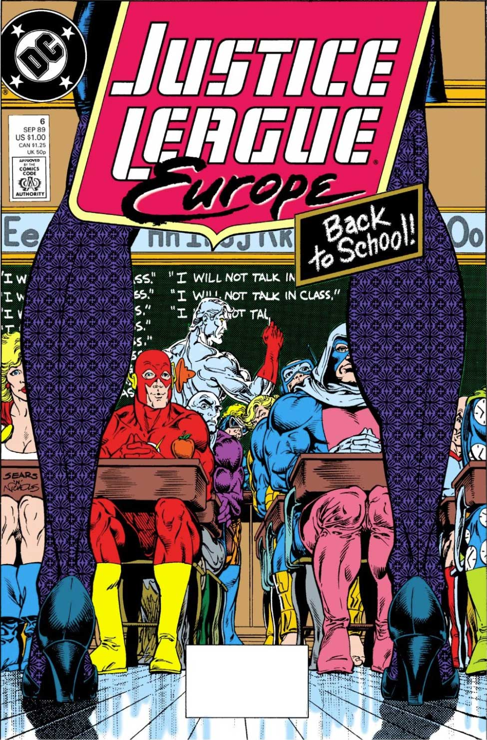 Justice League Europe #6 cover by Bart Sears and Art Nichols