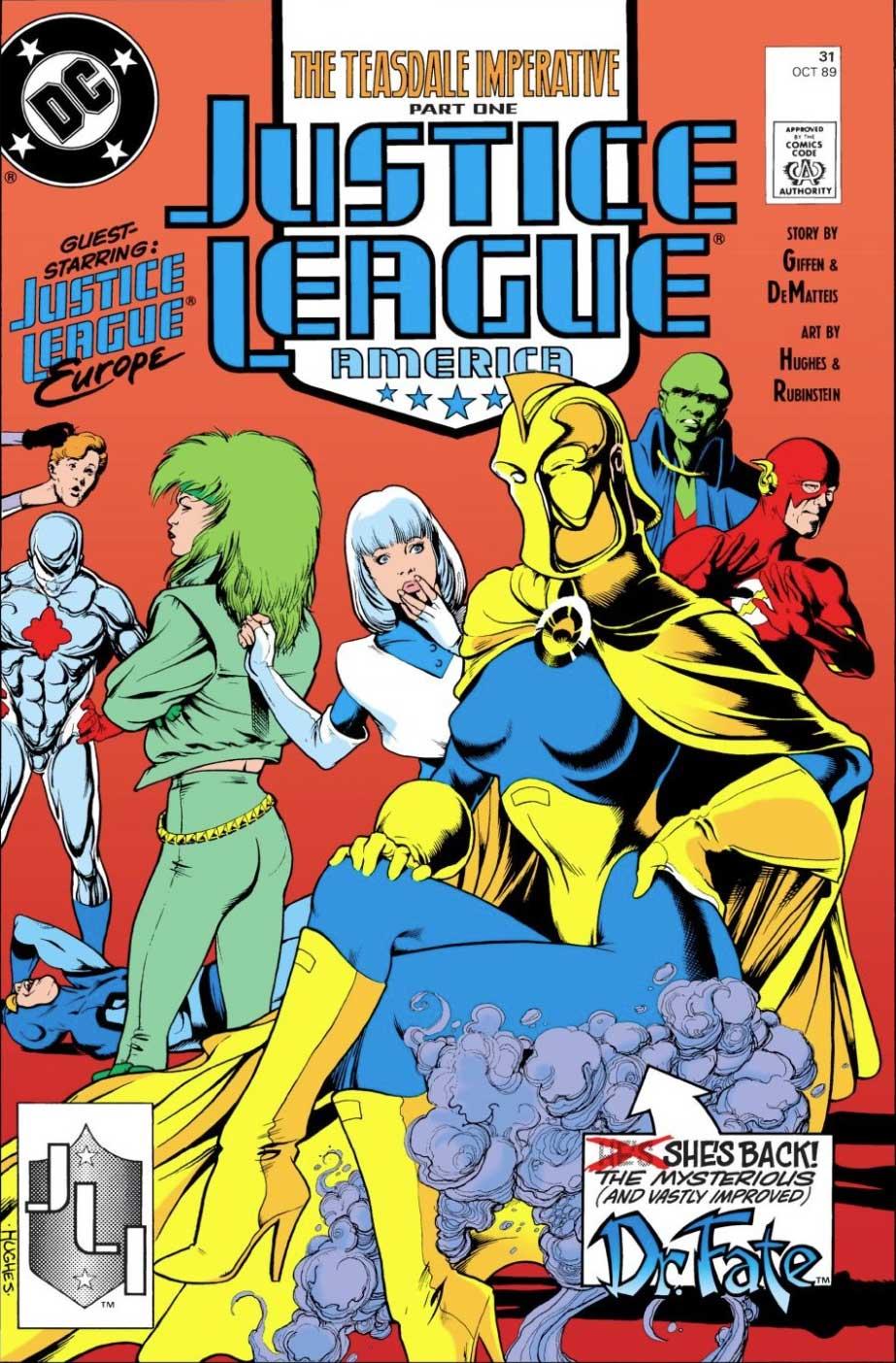 Justice League America #31 cover by Adam Hughes