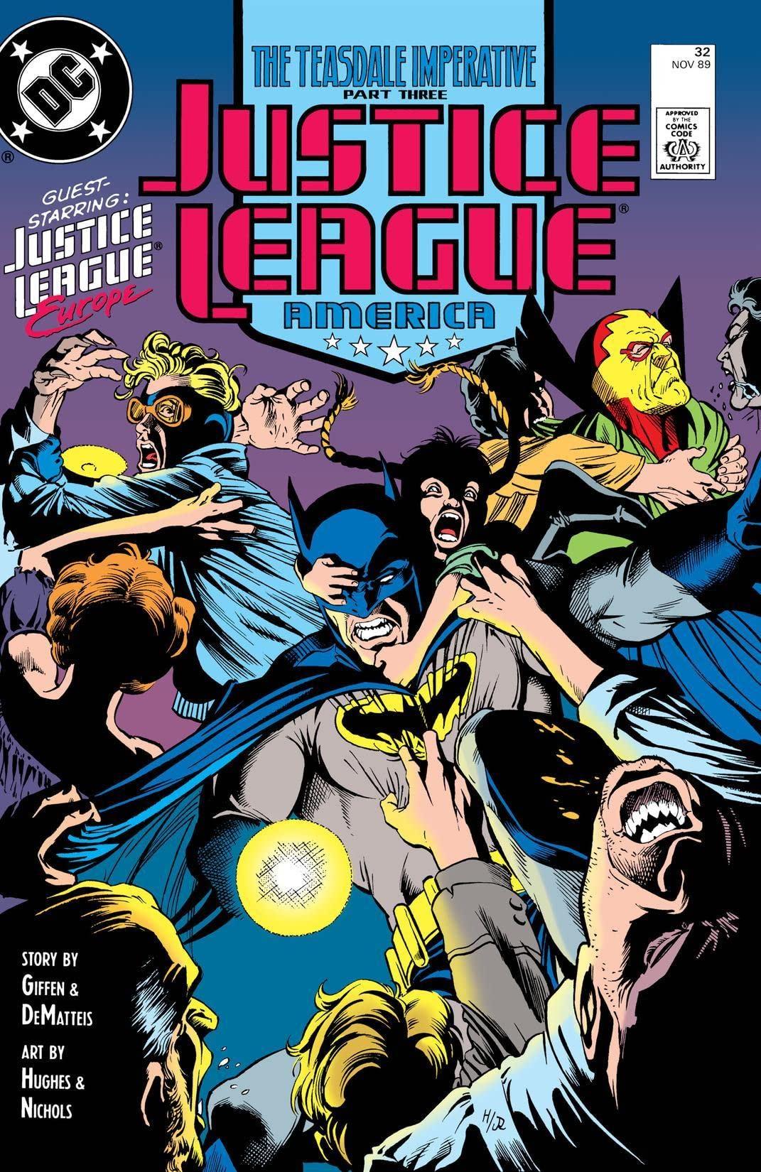 Justice League America #32 cover by Adam Hughes & Joe Rubinstein