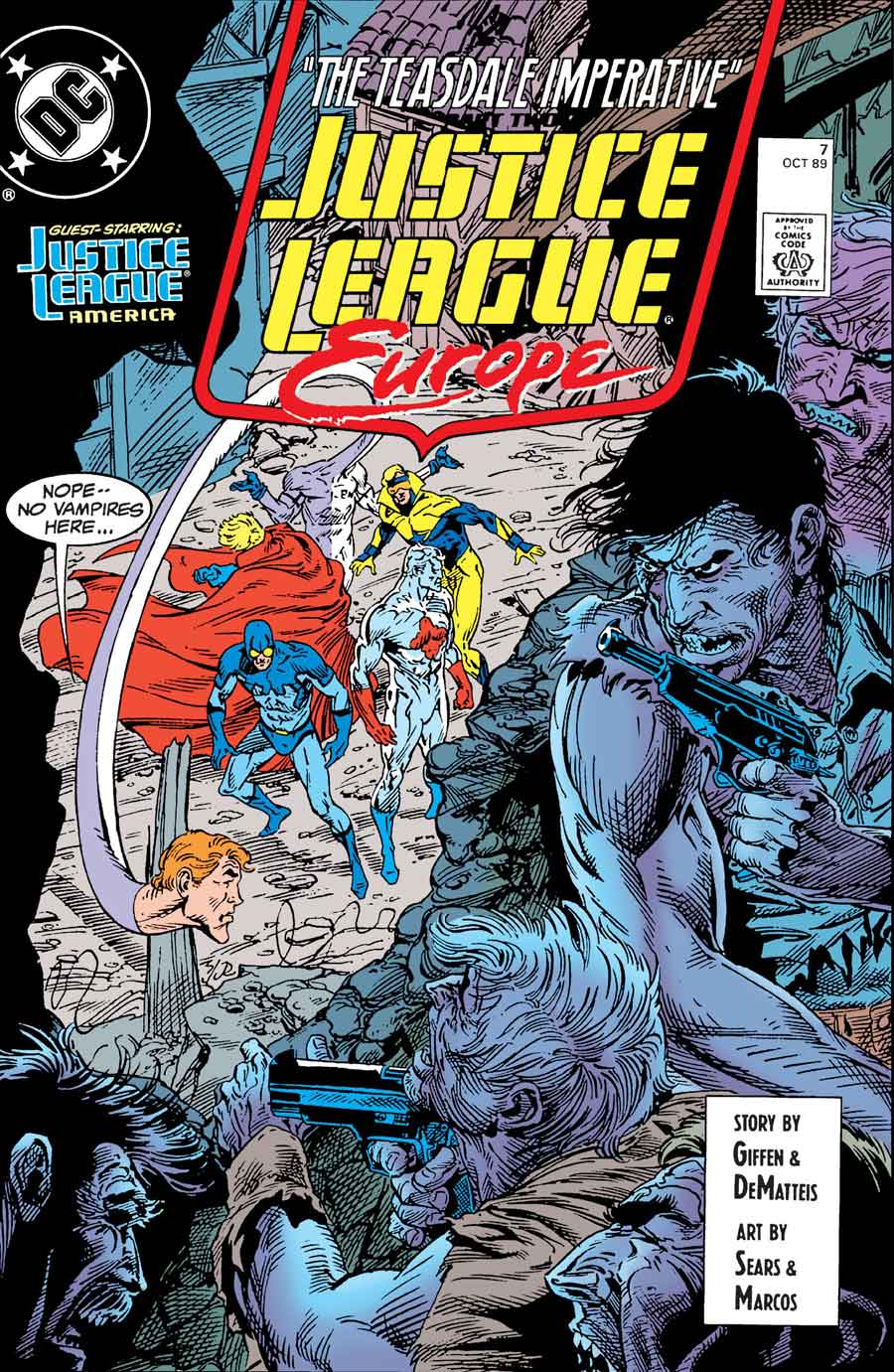 Justice League Europe #7 cover by Bart Sears and Joe Rubinstein (with corrected colors)
