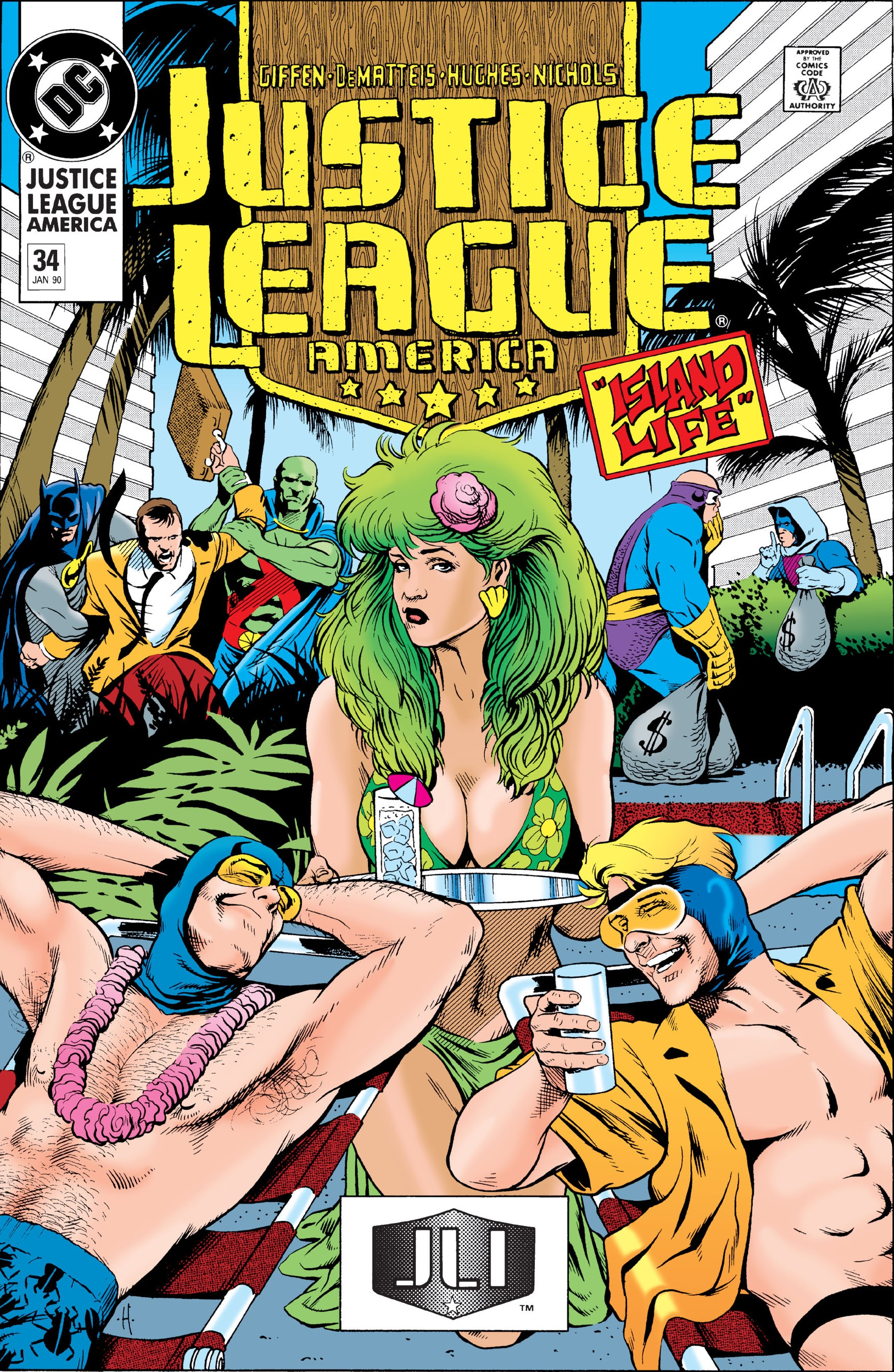 Justice League America #34 by Keith Giffen, J.M. DeMatteis, Adam Hughes, and Art Nichols