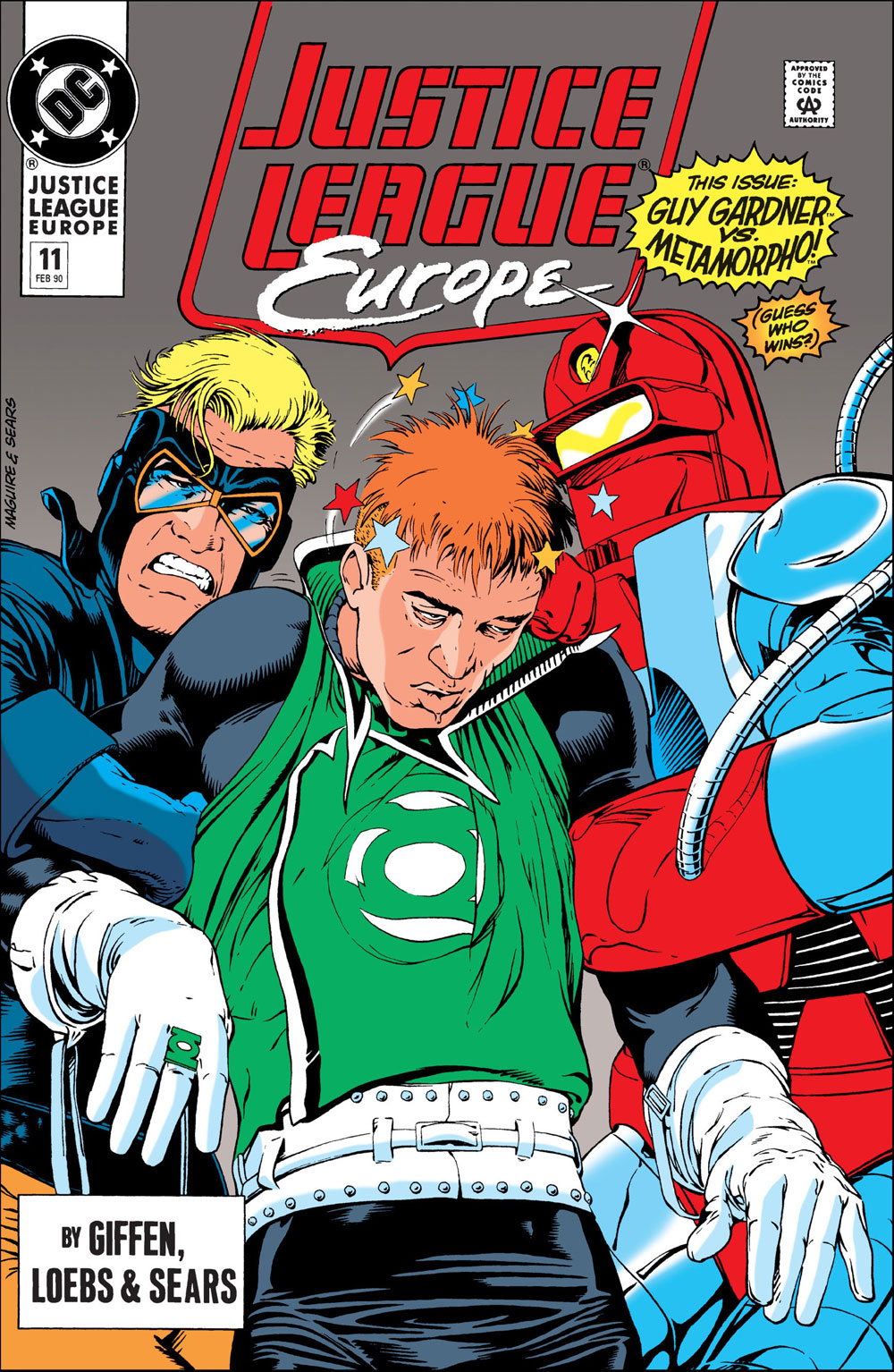 Justice League Europe #11 cover by Kevin Maguire and Bart Sears