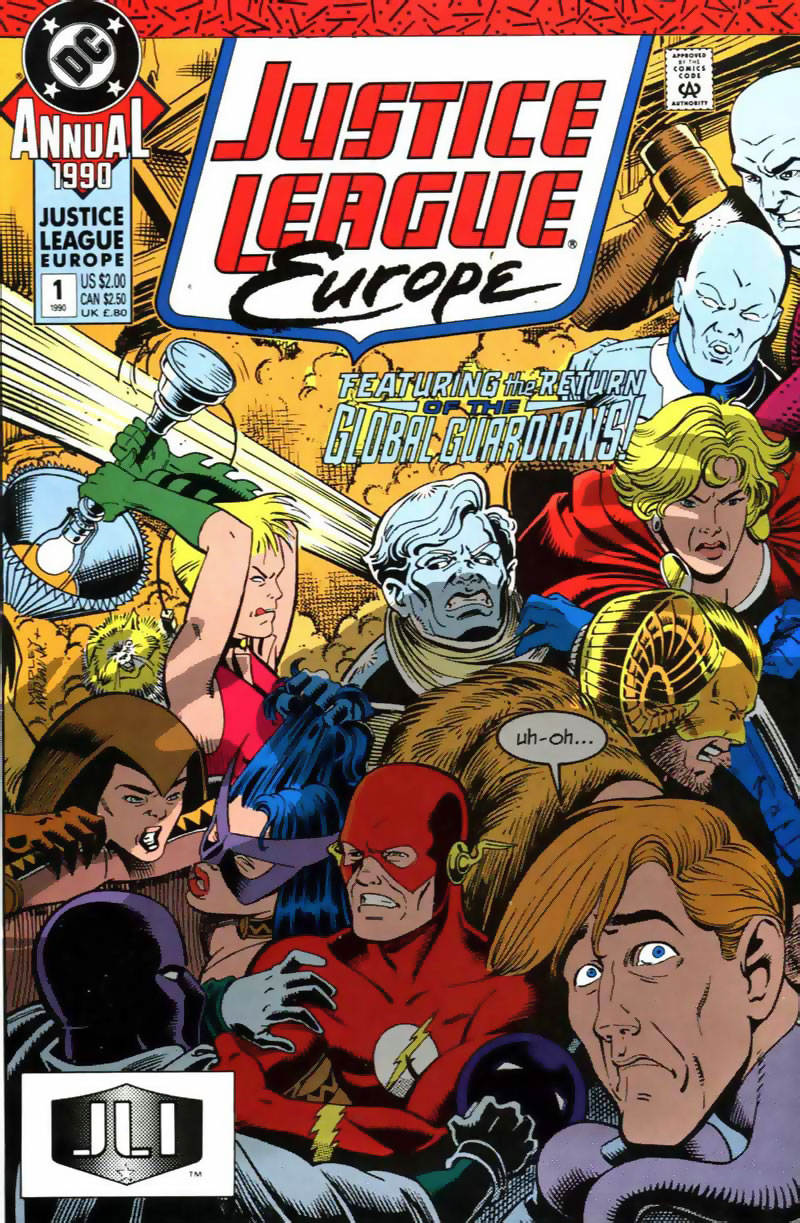Justice League Europe Annual #1 cover by Linda Medley & Jose F. Marzan, Jr.