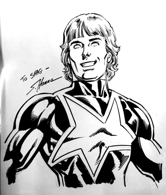Will Payton Starman sketch by Scott Hanna at Boston Fan Expo 2019