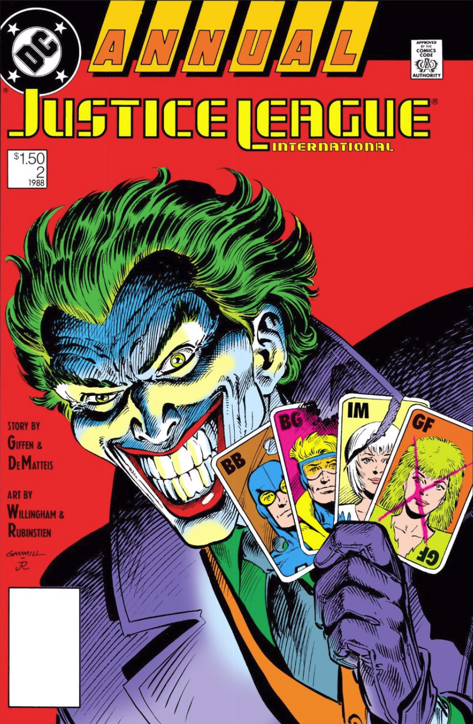 Justice League International Annual #2 cover by Kerry Gammill and Joe Rubinstein
