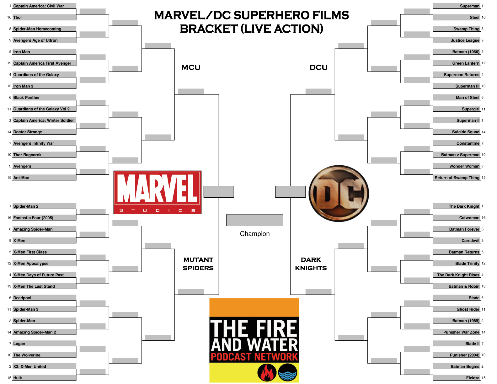 Marvel/DC Superhero Films Bracket