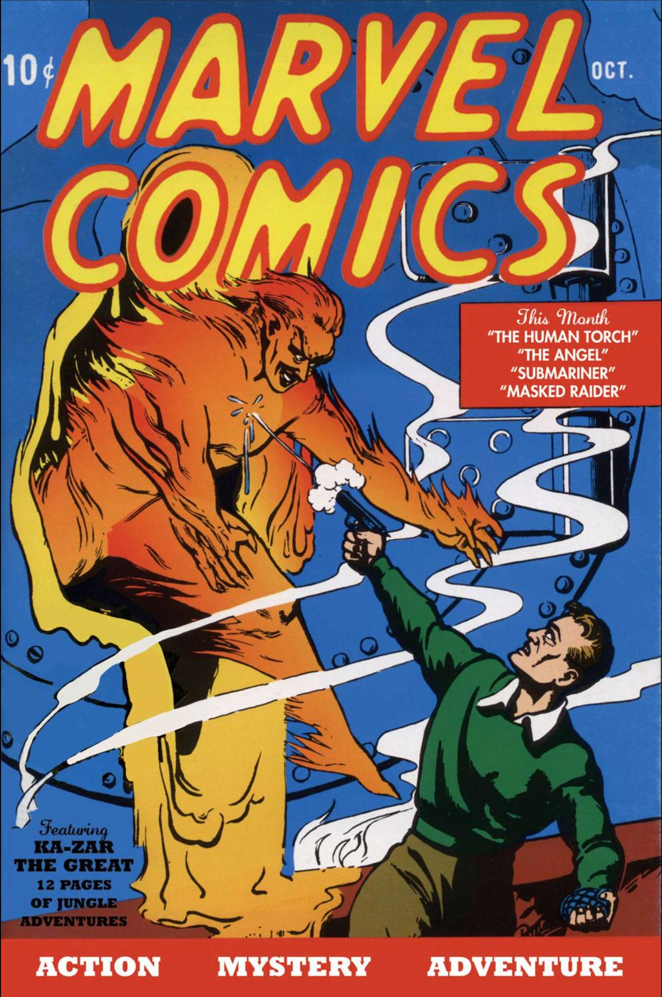 Marvel Comics #1 (1939) cover featuring The Human Torch