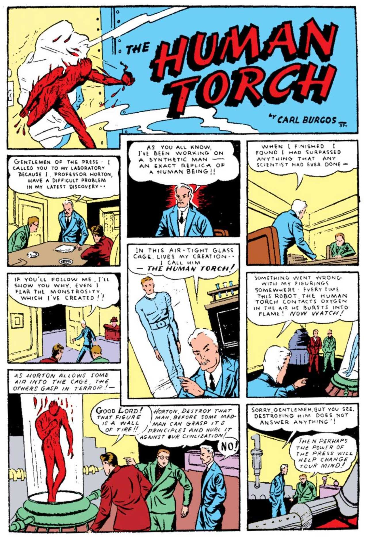 Marvel Comics #1 (1939) featuring The Human Torch by Carl Burgos