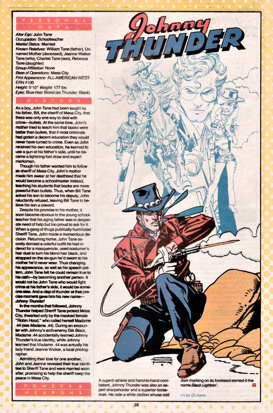 Who's Who: The Definitive Directory of the DC Universe #11 (1985) - Johnny Thunder drawn by Gil Kane