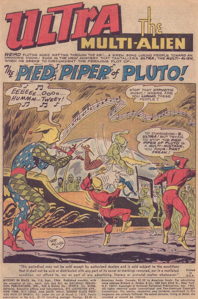 "Mystery in Space #110 (Sept 1966) ""The Pied Piper of Pluto"" by Otto Binder and Lee Elias"